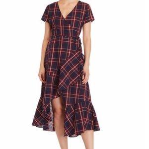 Plaid high low wrap dress. NWOT